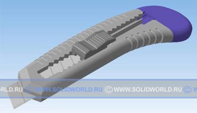 3d модель канцелярского ножа, выполненная в kompas 3d